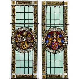 Paire de vitraux aux emblèmes de la Bourgogne et de la Flandre époque 19ème siècle