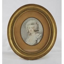 """Portrait ovale à l'aquarelle """"Femme dans le goût du 18ème siècle"""" époque début 19ème siècle"""