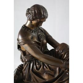 """Sculpture en bronze """"Sappho"""" de James Pradier (1790-1852), fonderie d'Art Susse et Frères"""