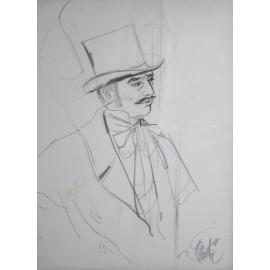 """Dessin au crayon """"Potrait d'homme au chapeau haut de forme"""" école du 20ème siècle"""