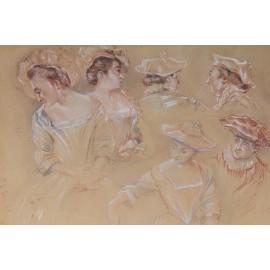 Dessin aux 3 crayons Edouard Formentin(1833-1927) d'après Antoine Watteau VENDU