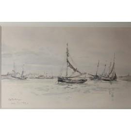 """Aquarelle de marine """"Petit Fort Philippe"""" signée de Louis Chervin (1905-1969)"""