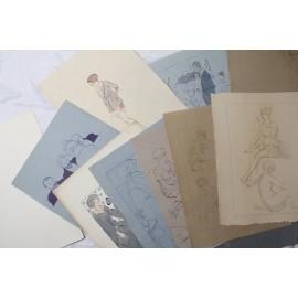Lot de dessins études de nus et autres d'après Luciano Fabiano (1883-1962)