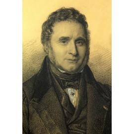 """Dessin au crayon et réhauts de blanc """"Portrait d'homme"""" signé Pidoux vers 1830"""
