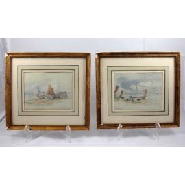 Paire d'aquarelles bateaux et pêcheurs signée John Frederik Tayler (1802-1889) provenance galerie Léo Schildof