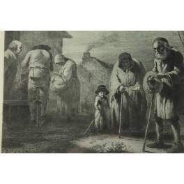 """Gravure """"Vieillard faisant l'aumône"""" de Jean-Jacques de Boissieu (1736-1810)"""