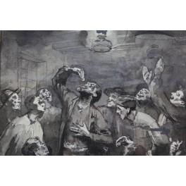 """Dessin à l'encre et au lavis """"Scène de taverne"""" signé G. Jacquot"""