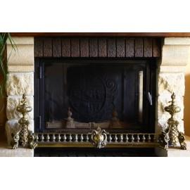 Paire de chenets et barre de foyer en bronze doré époque 19ème siècle