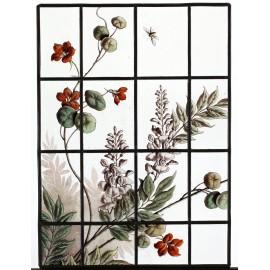 Vitrail avec fleurs de glycine et de capucine avec insecte vers 1900 VENDU