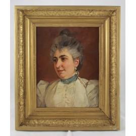 Tableau 'portrait de femme à la perle' huile sur panneau fin 19ème siècle signé Vahle