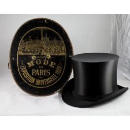 Boîte à chapeau 'Mode de Paris exposition universelle 1889' et chapeau haut de forme