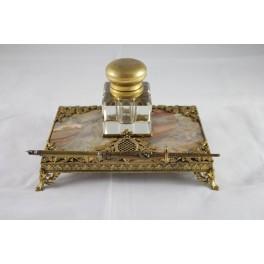 Encrier en marbre et bronze doré style Louis XVI époque vers 1900