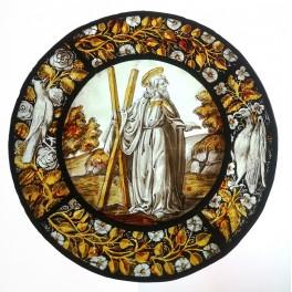 Vitrail en médaillon 'Saint André' style 15ème siècle, époque début 20ème siècle VENDU