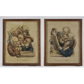 Deux gravures 'Les antiquaires' et 'Les amateurs de tableaux' Louis Boilly (1761-1845)