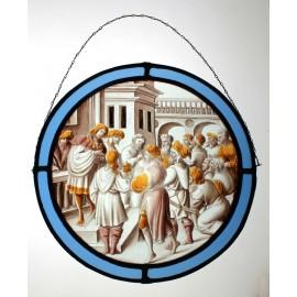 Vitrail en médaillon représentant un épisode de l'ancien testament 'Benjamin accusé de vol' époque début 20ème siècle