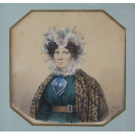 Miniature sur papier Portrait de femme signée Pasquier 1830