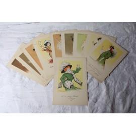 Série de 10 planches pour Quina-Laroche 10 actrices caricaturées par Henri De Losques