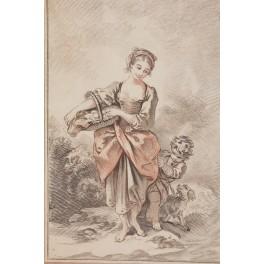 """Gravure """"C'est la fille à Simonette"""" de Jean Baptiste Huet gravé par Demarteau VENDU"""