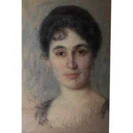 Pastel portrait de femme signé André Davids né en 1870