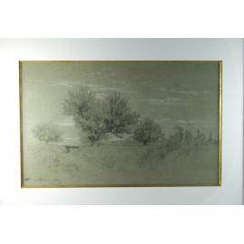 """Dessin au crayon noir """"Paysage de Fontainebleau"""" Alexandre Véron (1826-1897)"""