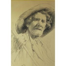 Dessin au crayon portrait de vieil homme signé Gaston Vuillier (1845-1915)