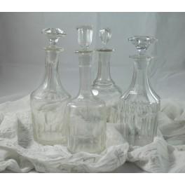 4 carafes en verres vers 1900