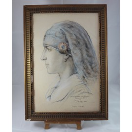 """Dessin aquarellé """"Hommage à mon infirmière"""" daté 1919 Vouziers VENDU"""