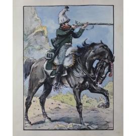 Aquarelle cavalier en uniforme militaire Ernest Fort (1868-1938)