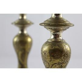 Paire de bougeoir en métal argenté époque 19ème siècle